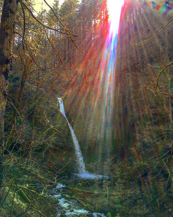 Rainbow Energies at Ponytail Falls by Michael Oceanofwisdom Bidwell