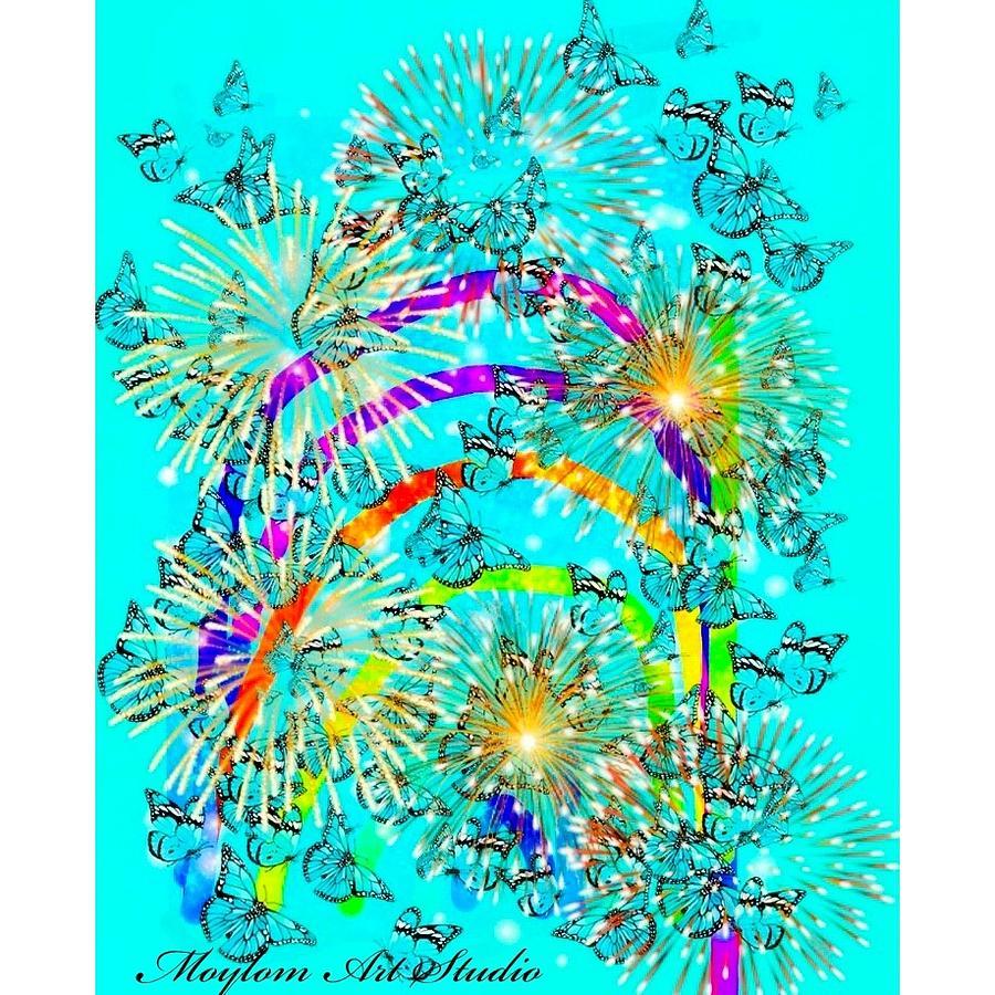 Rainbows Digital Art - Rainbow Fireworks 24 by Moylom Art Studio