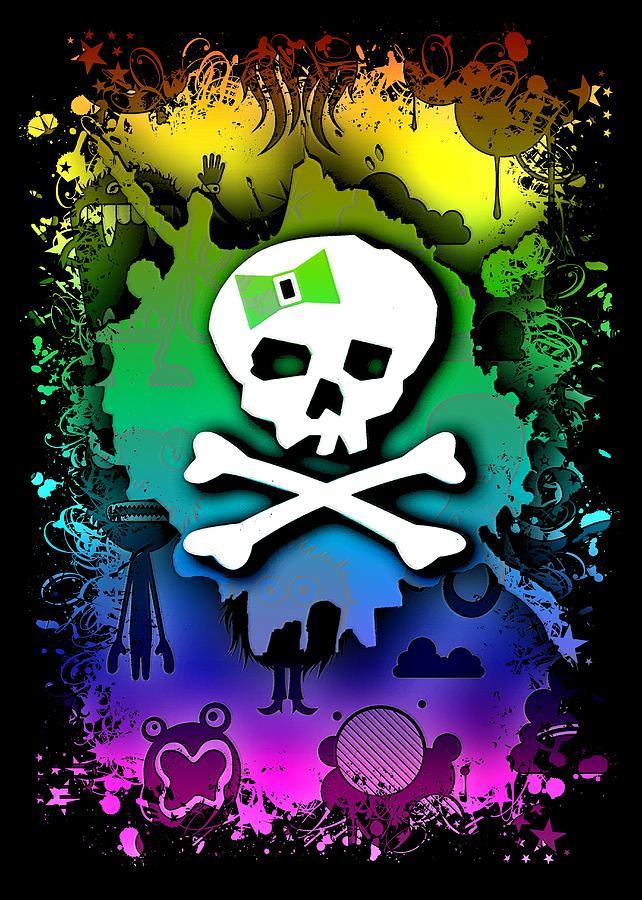 Rainbow Kawaii Skull by Roseanne Jones