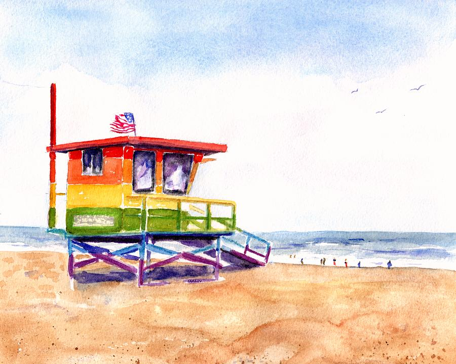 Rainbow Lifeguard Tower by CarlinArt Watercolor