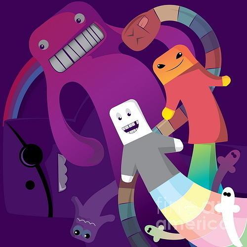 Dancing Digital Art - Rainbow Monsters by Margaritas