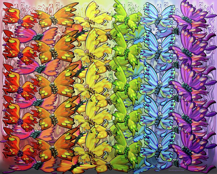 Rainbow Of Butterflies Digital Art
