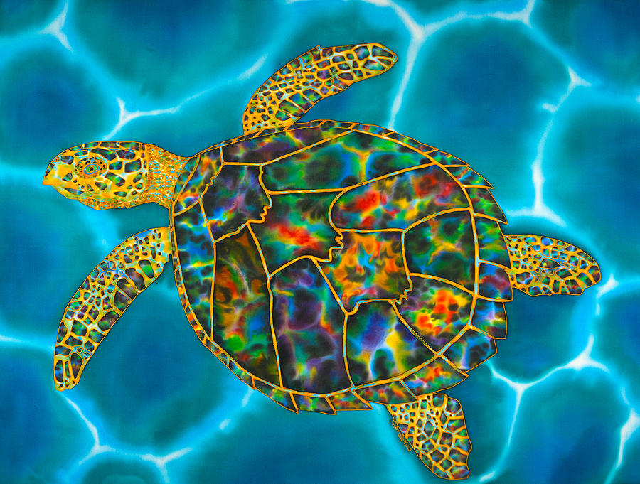 Abstract Painting - Rainbow Opal Sea Turtle by Daniel Jean-Baptiste