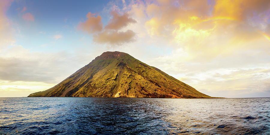 Rainbow Over Stromboli Island Photograph