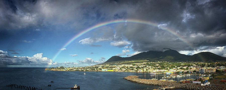 Rainbow Panorama over Olivees Mountain on St. Kitts Island by Bill Swartwout Fine Art Photography