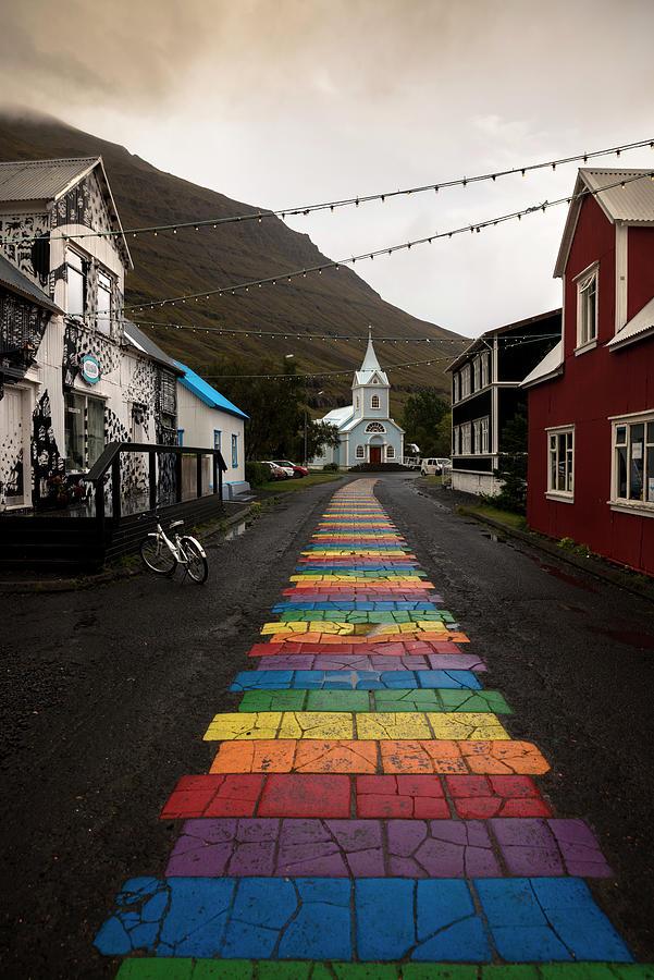 Rainbow path towards the blue church by RicardMN Photography