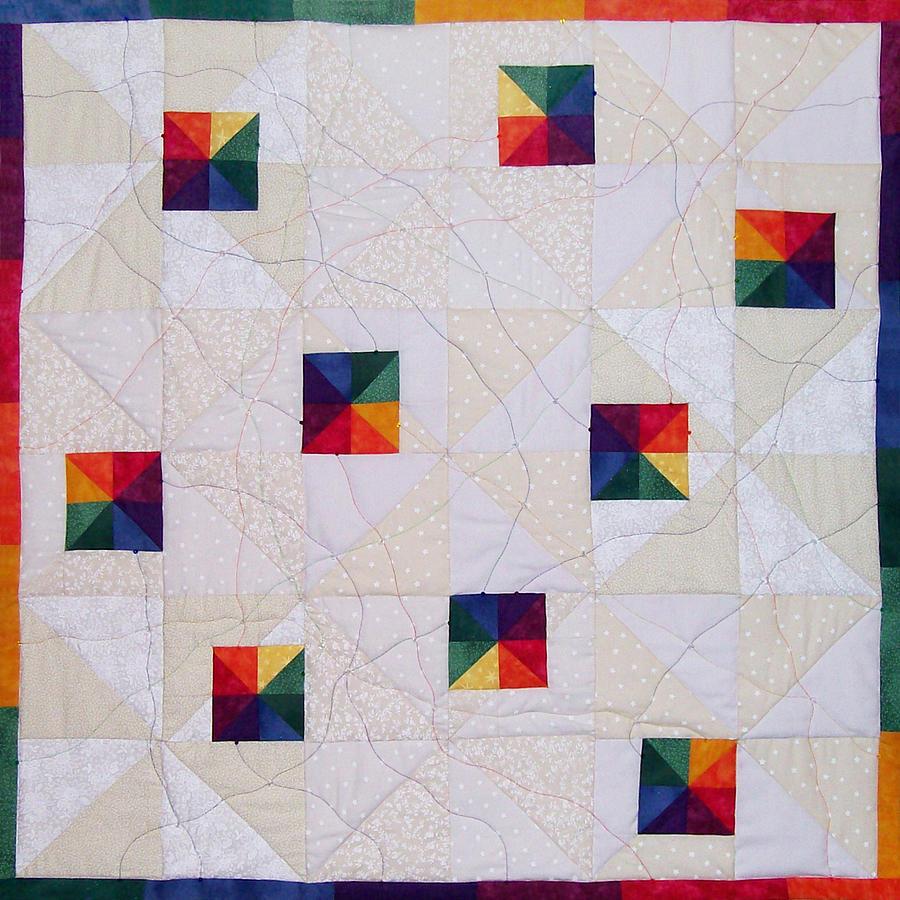 Rainbow Pinwheel Tapestry - Textile by Pam Geisel