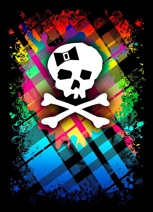 Rainbow Plaid Skull Graphic by Roseanne Jones