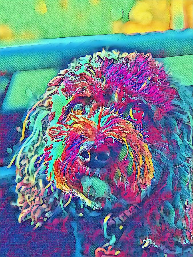 Rainbow Pup Digital Art by Cindy Greenstein
