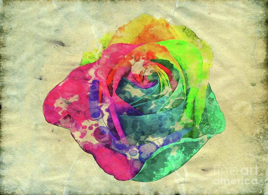 Rainbow Digital Art - Rainbow Rose by Esoterica Art Agency