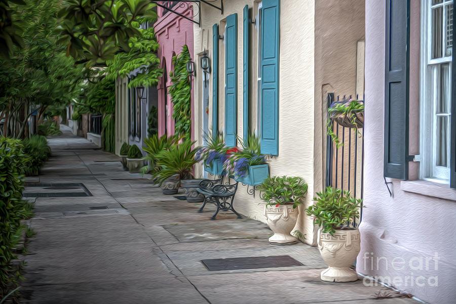 Rainbow Row Evening Stroll in Historic Charleston South Carolina by Dale Powell