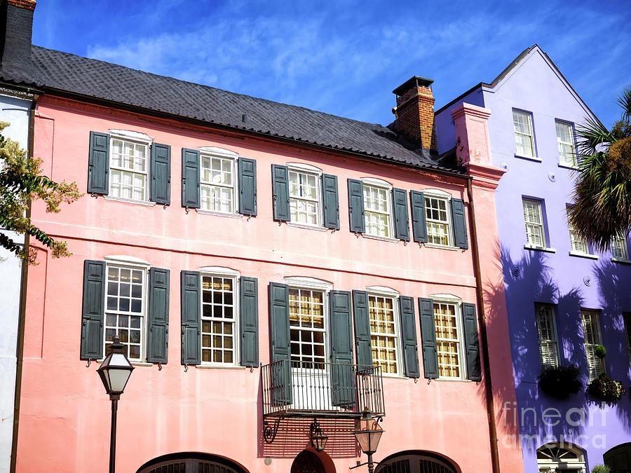 Rainbow Row Photograph - Rainbow Row Pink In Charleston by John Rizzuto