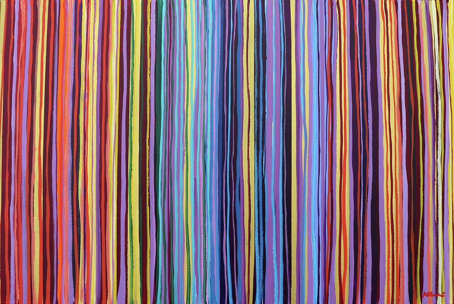 Modern Painting - Rainbow Stripes Purple Gold 201912 by Alyse Radenovic