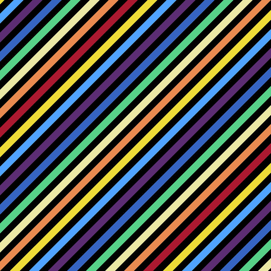 Rainbow Stripes with Black by Gravityx9 Designs