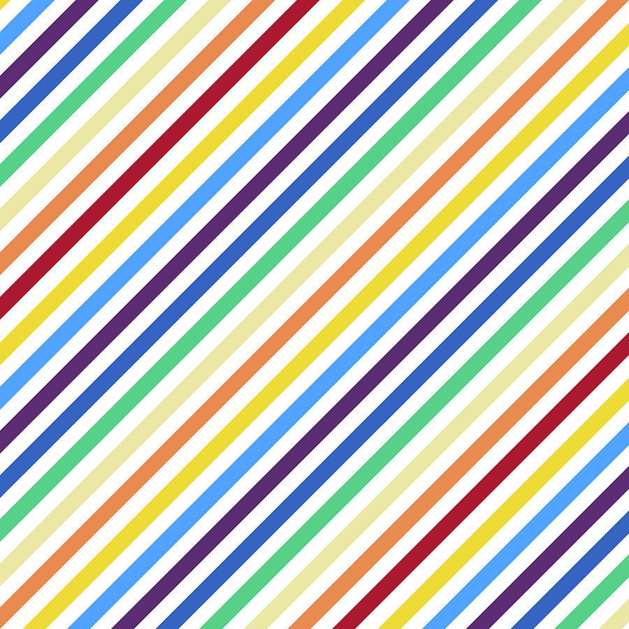 Rainbow Stripes with White by Gravityx9 Designs