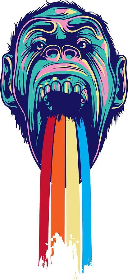 Lgbtq Digital Art - Rainbow Tongued Monkey by Passion Loft