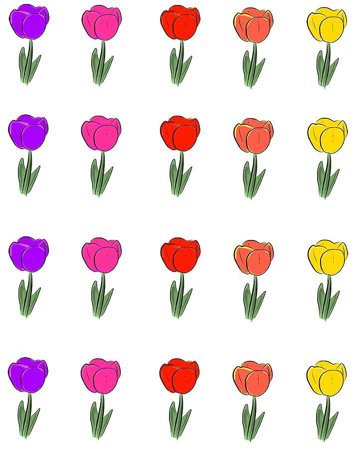 rainbow tulip pattern digital art by jordan parshall