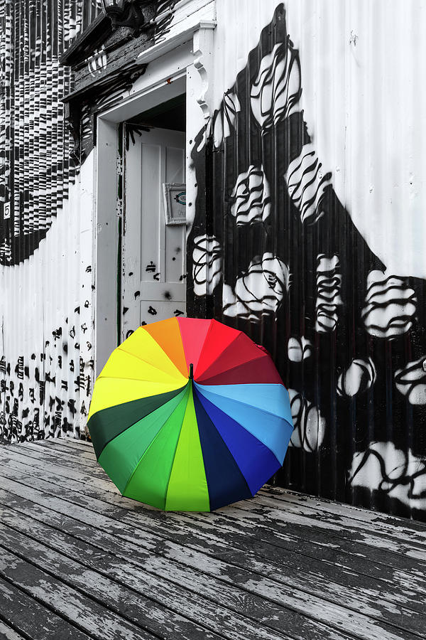 Rainbow Umbrella in a Black and White Scene  by Pierre Leclerc Photography