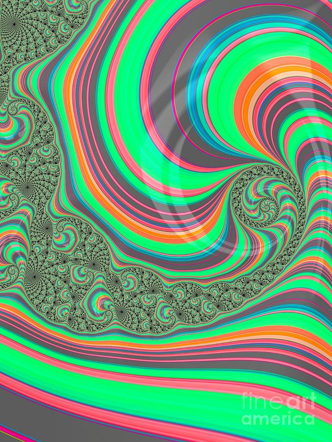 Rainbow Whirlpools in the Ocean Fractal Abstract by Rose Santuci-Sofranko