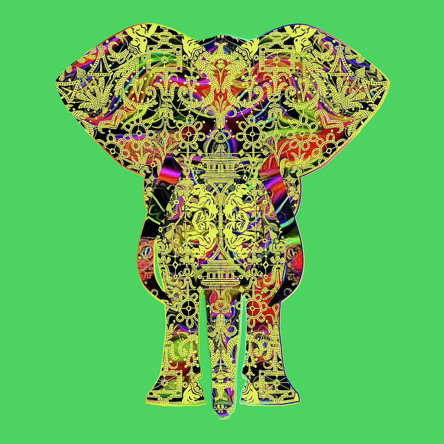 Rainbow Yellow Ganesha on Green by Diego Taborda