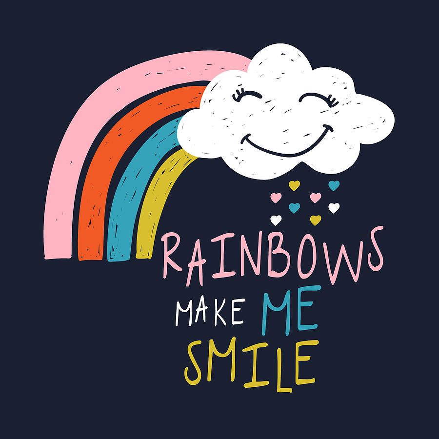 Rainbows Make Me Smile - Baby Room Nursery Art Poster Print by Dadada Shop