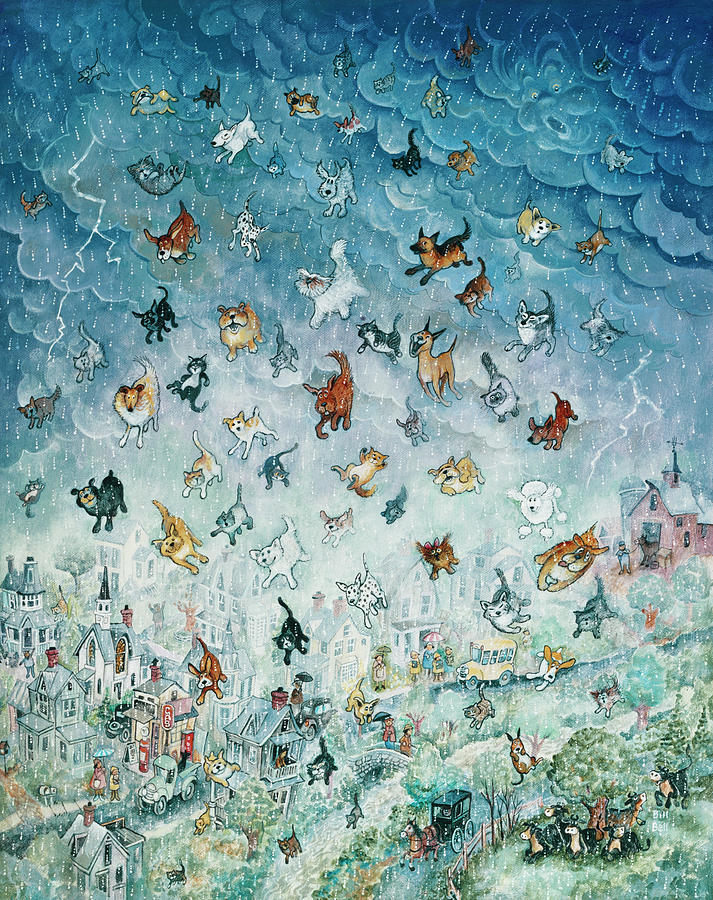 Animals Painting - Raining Cats And Dogs by Bill Bell