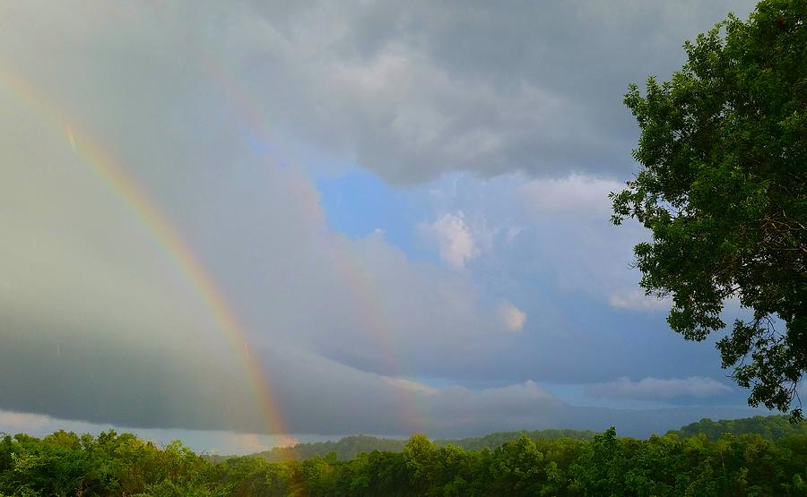 Nature Photograph - Rainy Double Rainbow  by Ally White