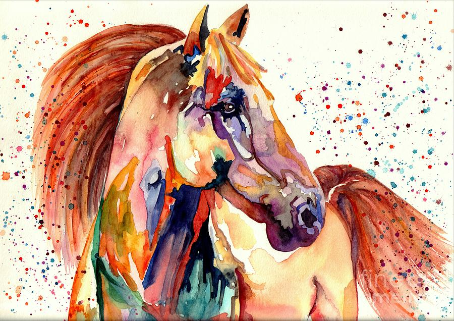 Watercolor Painting - Rainy Horse by Suzann Sines