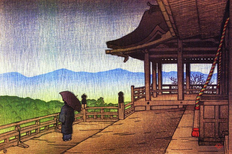 Ukiyoe Painting - Rainy Kiyomizu Temple, The Series Souvenirs Of Travel II - Digital Remastered Edition by Kawase Hasui