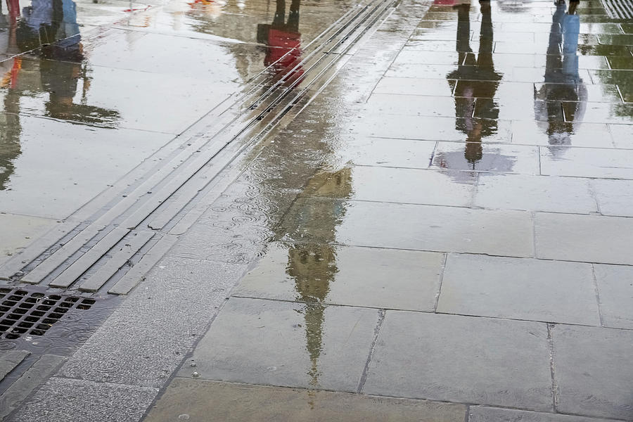 Rainy London Reflections - Trafalgar Square and St Martin-in-the-Fields Belltower by Georgia Mizuleva