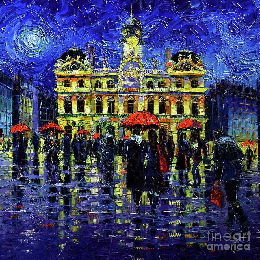 Rainy Painting - Rainy Night In Lyon by Mona Edulesco