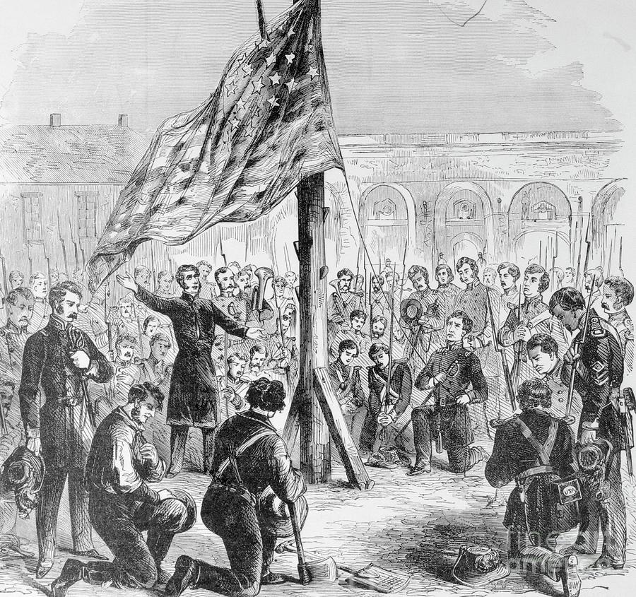 Raising American Flag On Fort Sumter Photograph by Bettmann