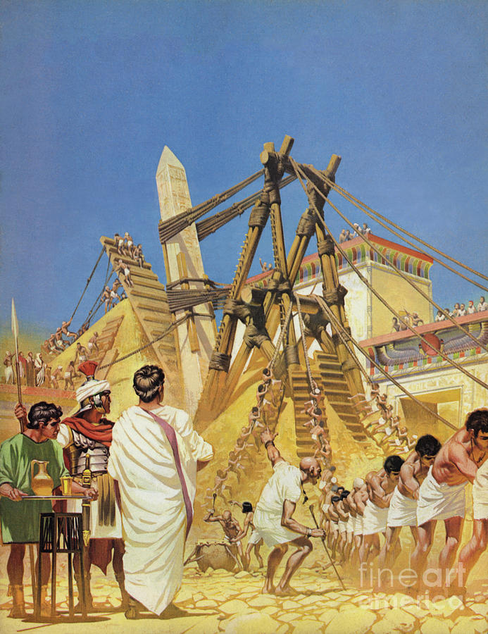 History Painting - Raising Cleopatras Needle by Angus McBride