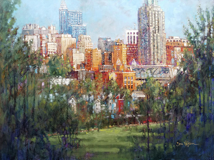 Raleigh Skyline From Dix Hill Painting