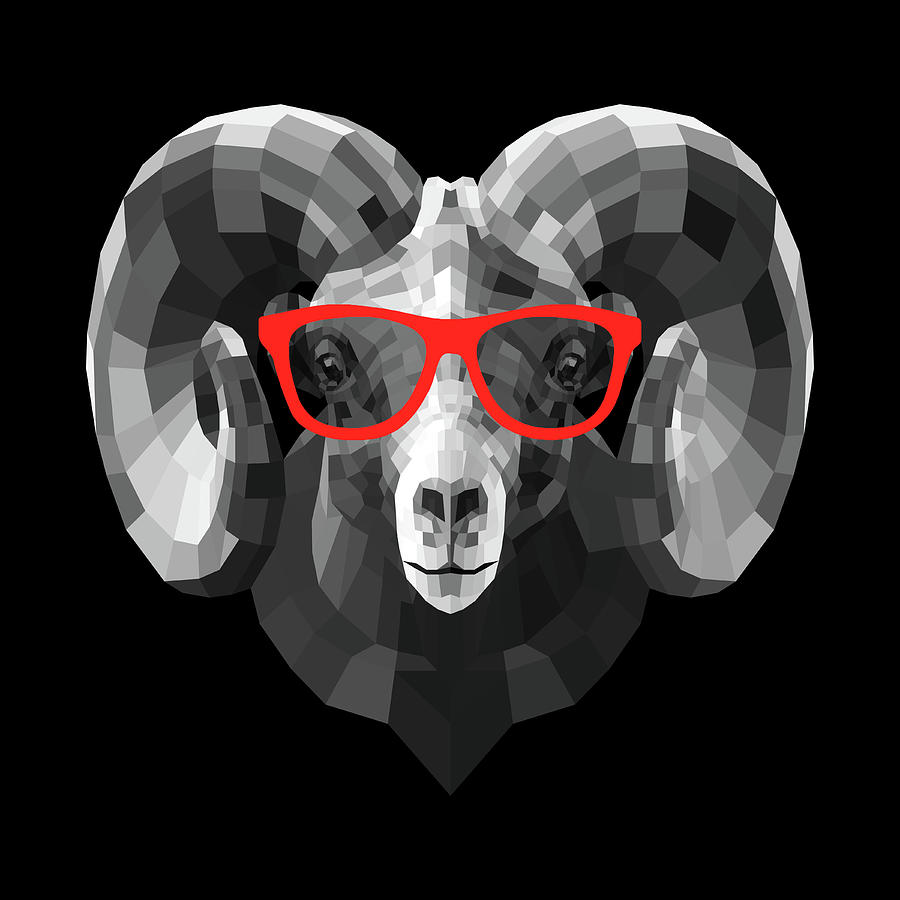Ram Digital Art - Ram In Red Glasses by Naxart Studio