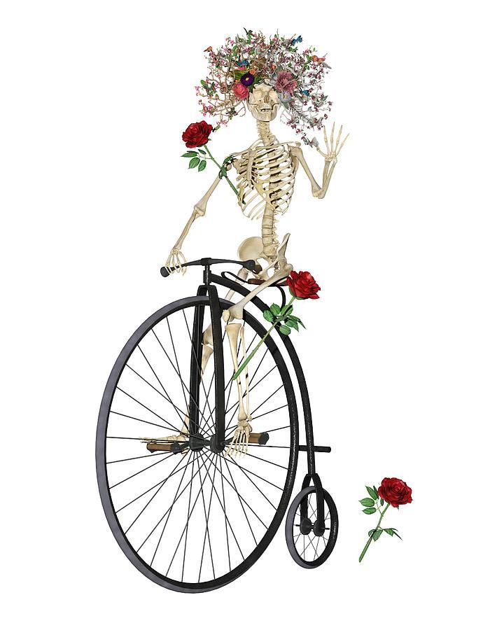 Skeleton Digital Art - Rambling Rosy Penny Farthing by Betsy Knapp