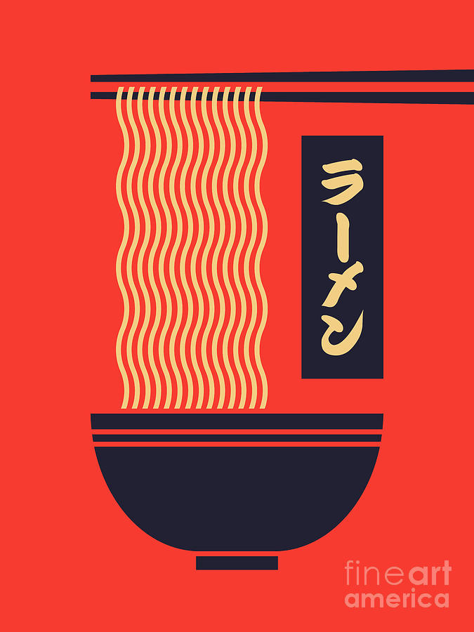 Ramen Digital Art - Ramen Japanese Food Noodle Bowl Chopsticks - Red by Organic Synthesis