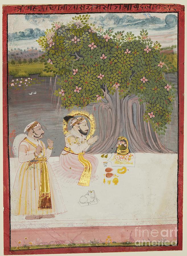 Rana Sangram Singh Worshipping A Linga Drawing by Heritage Images