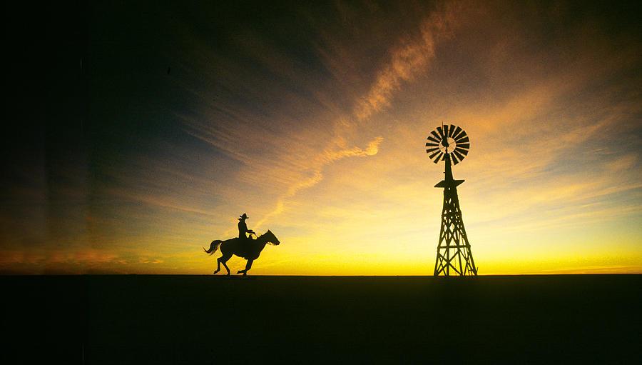 Ranch Cowboy And Windmill Photograph