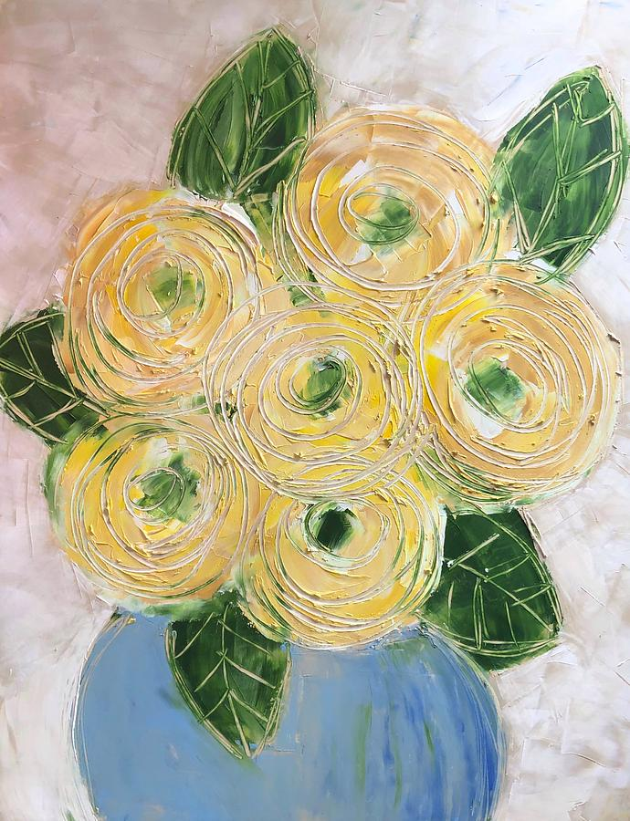 Ranunculus in blue vase  by Monica Martin