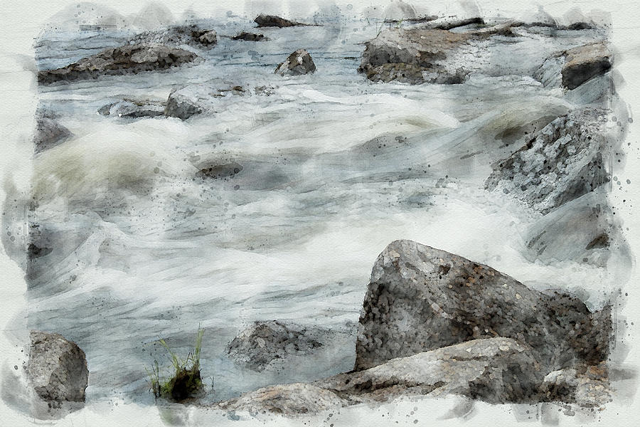 Rapids and rocks Digital art  by Edita Edith Anna Brus