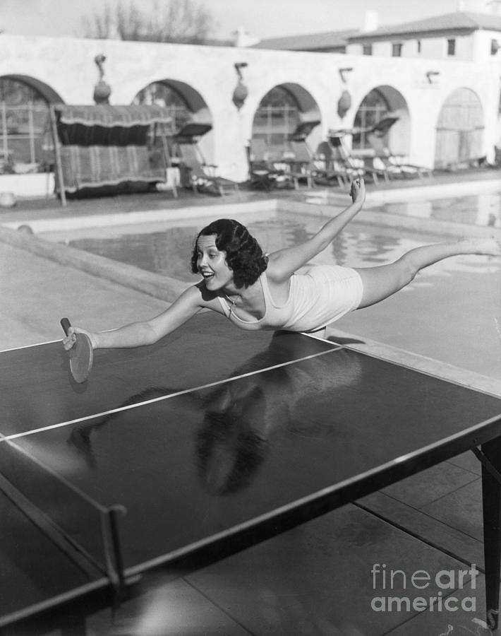 Raquel Torres Playing Ping Pong Photograph by Bettmann