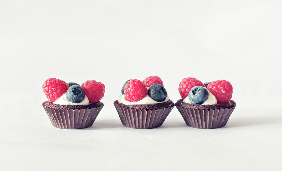 Raspberries And Blueberries Trio Of Photograph by Marta Nardini