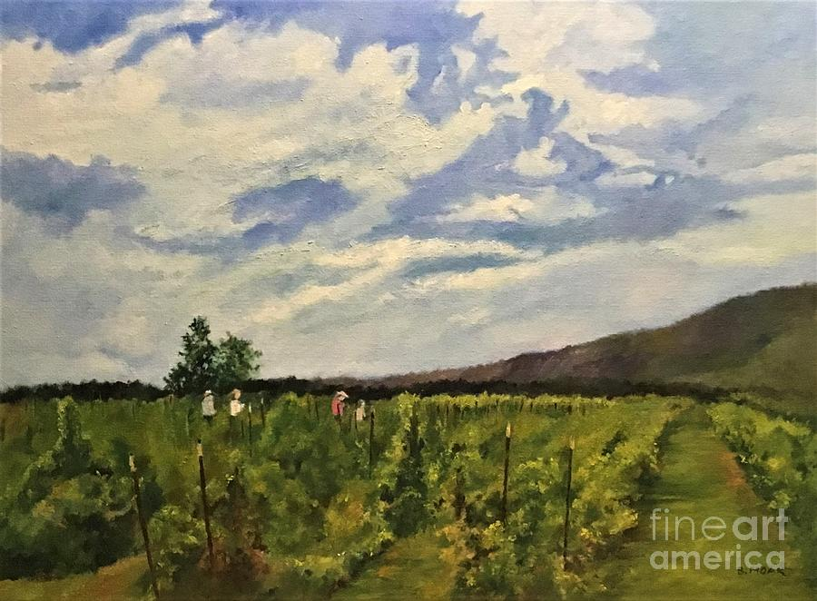 Impressionistic Landscape Painting - Raspberry Pickers At Indian Ladder Farms, New York by Barbara Moak