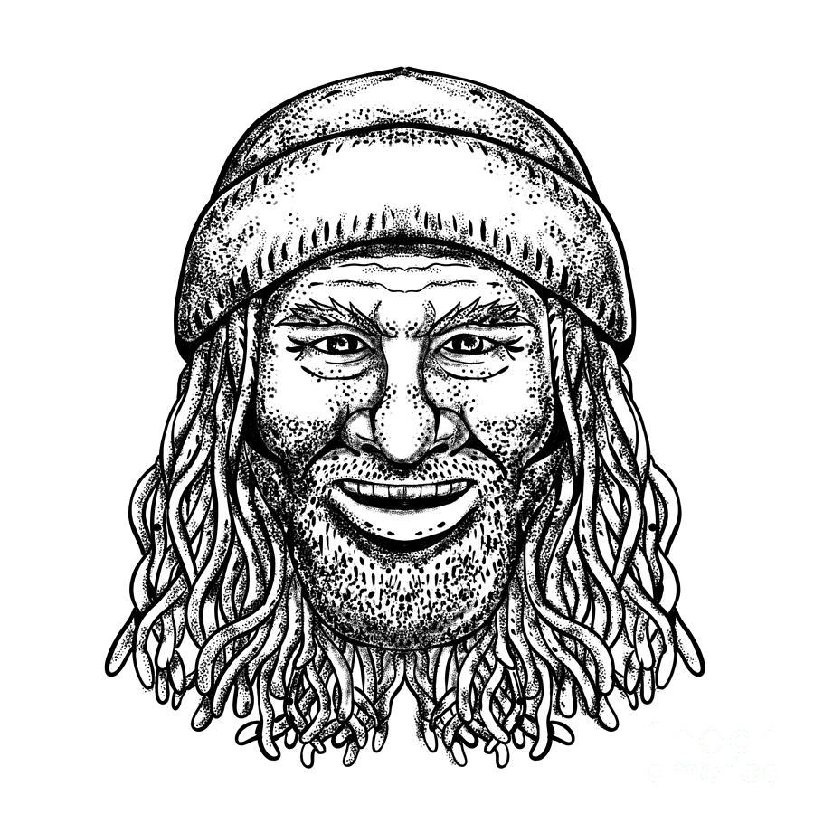 Tattoo Digital Art - Rastafarian Dude Tattoo Grayscale by Aloysius Patrimonio