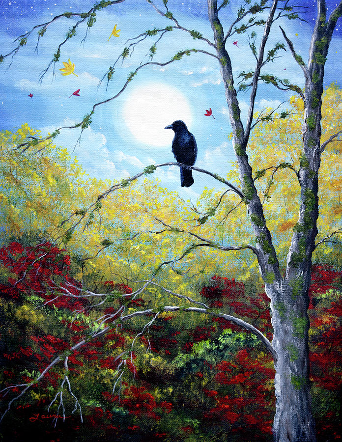 Raven in Autumn Twilight by Laura Iverson