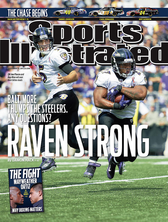 Raven Strong Baltimore Thumps The Steelers. Any Questions Sports Illustrated Cover Photograph by Sports Illustrated