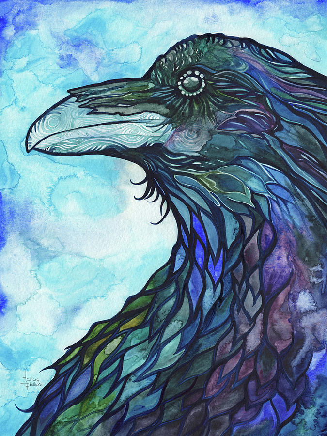 Blue Painting - Raven by Tamara Phillips