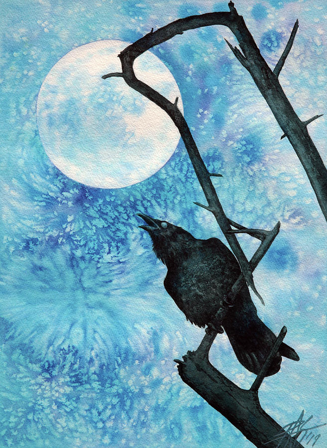 Raven with Torrey Pine Branch and Cold Moon by Robin Street-Morris