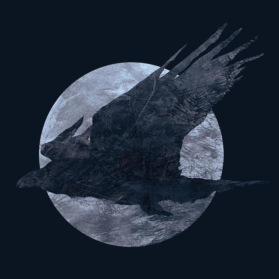Raven Digital Art - Ravenmoon by Christian Klute
